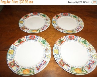 Save 25% Now Vintage Tabletops Unlimited Dinnerware Happy Everything Pattern Hard to Find Set of 4 Salad Plates