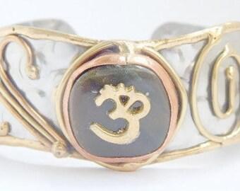 Om and Gemstone Cuff Bracelet