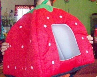 PET BED in RED Strawberry!