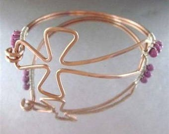 Copper Cross Bangle with 6 Pink Magnesite Beads