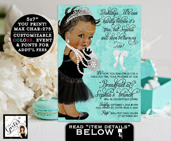 Baby and Co Brunch invitation, 2nd BIRTHDAY breakfast at invites, girl princess pearl invite, African American co lace white bow.