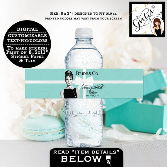 """Water bottle labels, personalized Audrey Hepburn Printable party water labels, breakfast at co, BRIDE & CO Audrey label 8x2"""" 5 Per/Sheet."""