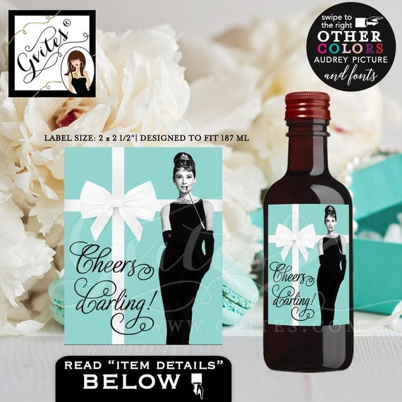 "Breakfast at Tiffany's Labels Audrey Hepburn Mini Wine Labels - CUSTOMIZABLE stickers, bridal shower, 2x2.5"" {12/Per Sheet} PRINTABLE"