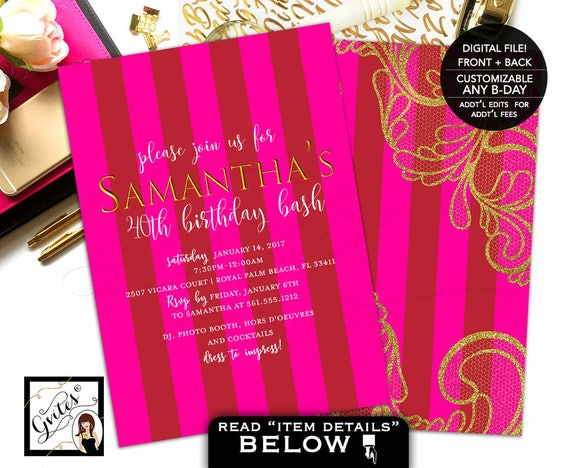 Victoria Secret Invitations, pink and gold, gold lace 40th birthday invitation, stripes, modern, glitz glam designer, double sided, 5x7