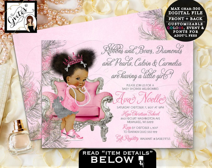 Hot pink, silver and gray baby shower, african american princess, pink tiara silver afro puffs baby girl, printable 7x5 double sided.