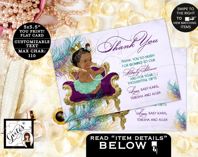 "Peacock Thank You Card Purple and Gold Thank You Cards peacock baby shower, princess, african american, flat 5x3.5"" 4/Per Sheet"