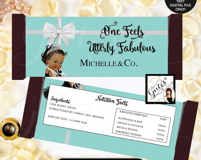 """Tiffany Blue Candy Bar Wrappers, FIRST BIRTHDAY candy favors, stickers, hershey bar chocolate labels {2 Per/Sheet 5.25 x 5.75""""}"""