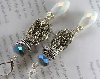 earrings, rainbow moonstone earrings, moonstone earrings, white earrings, boho chic earrings, bohemian earrings, christmas for her