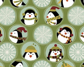 Jolly Penguin/Snowflake Cotton Fabric [[by the half yard]]