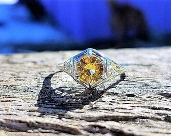 Art Deco Engagement Ring 1.00ct Yellow Sapphire Unique Engagement Ring Vintage Antique 1920 14k Yellow & White Gold