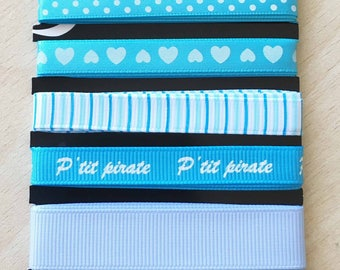 "set of 5 grosgrain and satin ribbons ""p"" pirate boy """