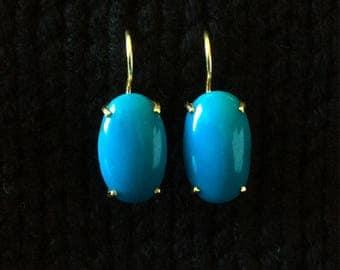 Persian Turquoise 14k 585 Gold Vintage 1960s fine earrings
