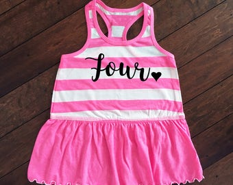 Girls Birthday Dress | Four Dress | Toddler Birthday Dress | Toddler Girls Racer Back Tank Dress | 4th Birthday Dress | Girls 3rd Birthday