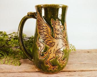 Griffin Stein 28 oz - Large Mug for Coffee - Statement Mug - Mythical Creatures - College Student Gift - Office Mug - Mesiree Ceramics