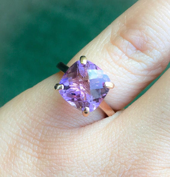 amethyst engagement ring 14k rose gold cushion cut amethyst. Black Bedroom Furniture Sets. Home Design Ideas