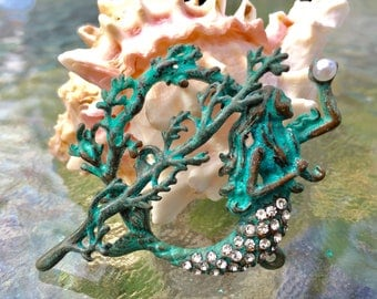 Mermaid Toggle Clasp, (T01P) Original Design: patina plated with rhinestones, Ocean lover must see!! Sample not included