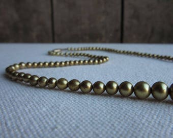 """Delicate Vintage WWII Era Gold Painted Bead Necklace, 17"""", 1940's Faux Pearl Necklace,Small 2-6mm Beads,Vintage Jewelry,Gold Beaded Necklace"""