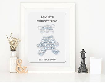 Personalised Christening Teddy Bear Framed Print