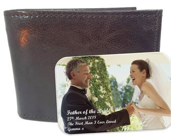 Genuine Leather Wallet and Personalised Father of the Bride - Father & Daughter Photo Keepsake card