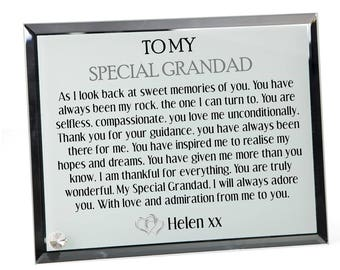 Grandfather Poem Personalised Glass Plaque - Special Grandad
