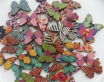 20 Wooden buttons shaped Butterfly in mixed colors 28x21mm