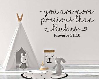 you are more precious than rubies, vinyl decals, vinyl wall art, home decor, child's room, nursery decor