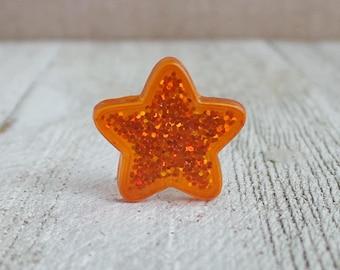 Orange Glitter Star - Achievement Star - Award - Inspiration - Motivation - Lapel Pin
