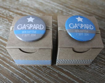 2 coordinated Kraft with badges magnet personalized dragees boxes
