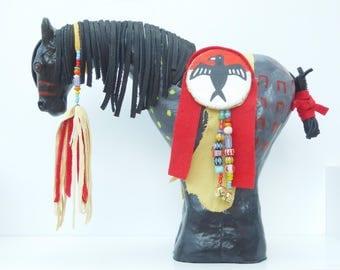 Native American Indian plains style spirit horse blue roan war paint eagle shield model pony sculpture beaded tack leather southwest art