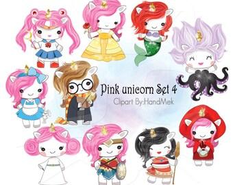 Pink unicorn Set 4 ,Kawaii Unicorn,cute unicorn clipart instant download PNG file - 300 dpi