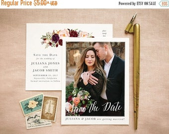 Marsala Blush Save Our Date for Elegant Barn Wedding