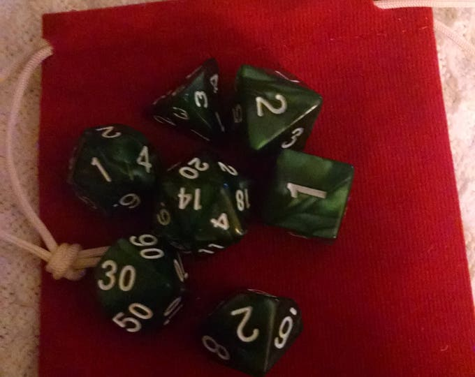 Forest Green - 7 Die Polyhedral Set with Pouch