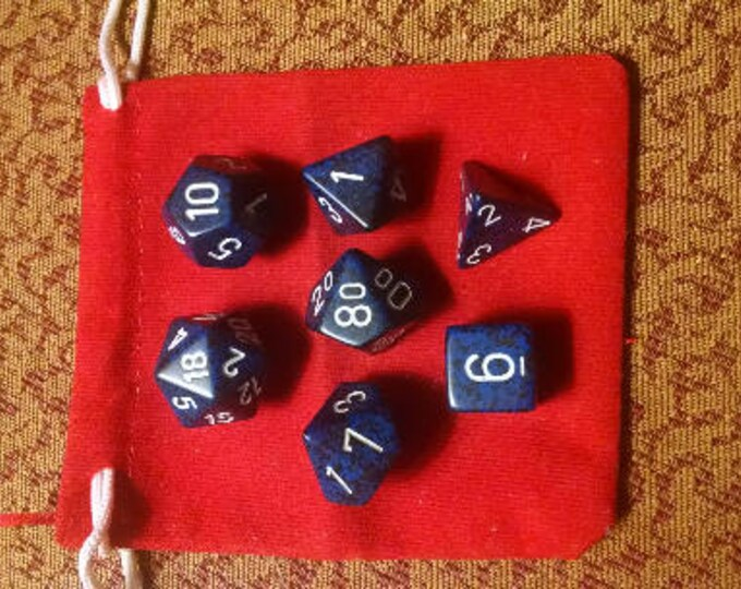 Deep Blue - 7 Die Polyhedral Set with Pouch