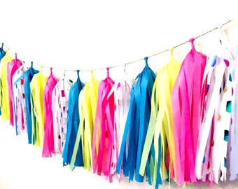 Tissue Tassle Garland / Fringe tassel garland /party decor / wedding decoration / birthday party /sweet table buffet decor/ /Ricardo cuisine