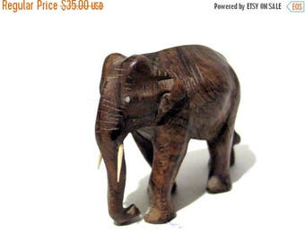 ON SALE wood elephant statue,1970s,elephant figurine,handmade,engraved