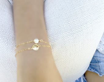 Layered Pearl Bracelet Sand dollar Pearl Jewelry Layering Bracelet  Wrap Bracelet Layered Sand dollar Bracelet Minimalist beach Jewelry