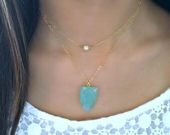 aqua necklace aqua chalcedony pendant arrow shaped aqua pendant aqua jewelry 14k gold filled blue chalcedony cz pave necklace diamond gift