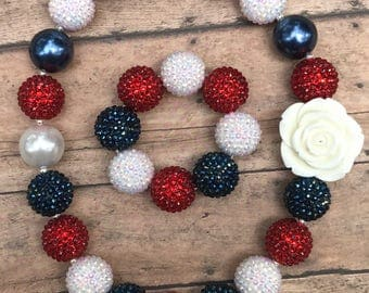 Fourth of july childs jewelry, fourth of july jewelry, bubblegum jewelry, chunky bead jewelry, red white and blue necklace