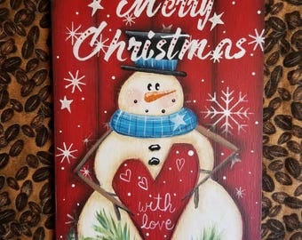 Merry Christmas Snowman Decoration Christmas Decor Teacher Hostess Gift Snowflake Heart Small Holiday Wall Hanging Festive Large Tag   Hat