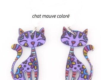 X 1 acrylic colorful purple cat