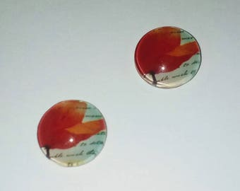 X 2 Cabochons 12mm red poppy