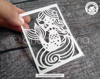 ACEO Original | Original cut by hand papercut | Little Mermaid | Design by Anantaviana