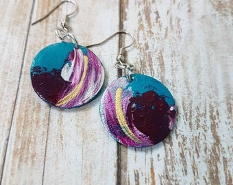 Hand painted leather dangle hook earrings teal purple gold and pearl