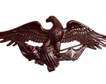 Big DARK Bronze American Eagle Plaque Door Top Winged Old Style