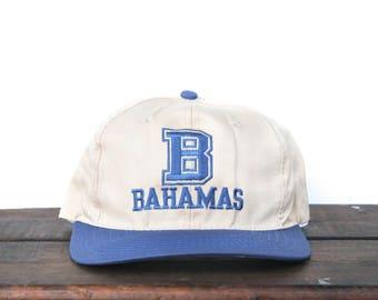 Vintage 90's Bahamas Beach Tropical Island Vacation Snapback Hat Baseball Cap