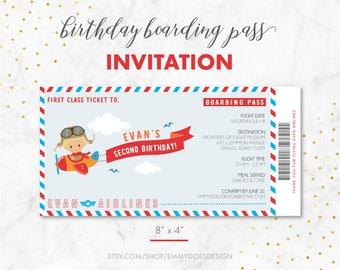 Geburtstag Junge Bordkarte Flugzeug Einladung, Flugzeug Thema, Kid  Geburtstags Einladung,