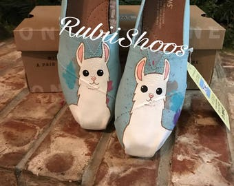 SALE!! Womens 7.5. Ready to ship-RubiiShoos Original-Llama-Animal Lover-Alpaca shoes-No probllama-Llama shoes-womens toms
