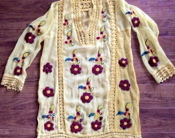 Beautiful Hand Embroidered Crocheted Sheer Yellow Tunic Caftan Mini Dress Blouse
