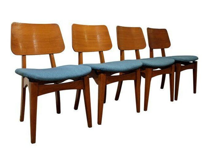 Mid-Century Dining Chairs Danish Modern Atomic Floating Seat Dining Chairs-Set of 4