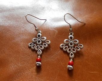 Earrings silver;  orange magic beads